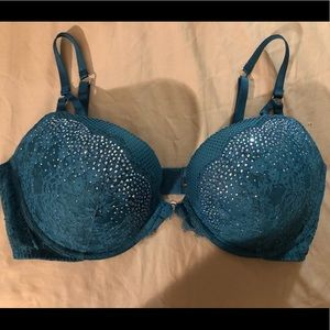 Victoria secret mermaid rhinestone bra teal 38DD